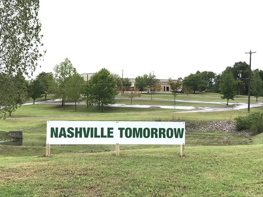 """A """"Nashville Tomorrow"""" sign indicates development plans stands at sprawling land around Church of God Sanctified, at 1230 Trinity Lane on September 27, 2018"""