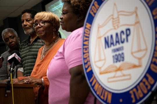 Gloria Jean Sweet-Love, President of the Tennessee State Conference NAACP, speaks during an NAACP Press Conference after Nashville Police Officer Andrew Delke was charged in the shooting death of Daniel Hambrick at Matthew Walker Comprehensive Health Center in Nashville, Tenn., Thursday, Sept. 27, 2018.