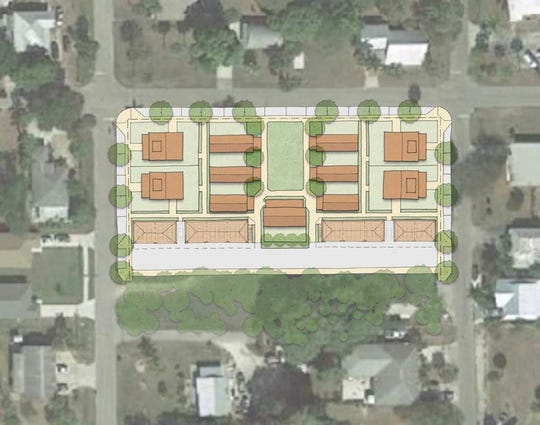 An overhead rendering of the city-owned property along Wilson Street between Shriver and Pullen avenues. DPZ Design said the land could be used for duplex-style housing.