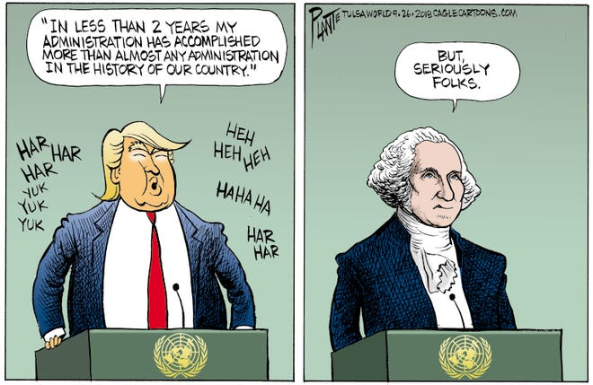 Bruce Plante Cartoon: Trump at the United Nations, President Donald J. Trump, United Nation General Assembly, UN, best accomplishments in history, foreign policy, Plante 20180927