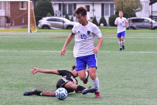 Wallington's Nicholas Zielonka (white 10)  has scored at least 10 goals and 10 assists in each of his first three seasons.