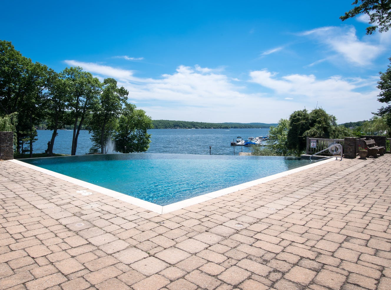 No $15 million estate is complete without an infinity pool, such as the one near the shore of Greenwood Lake in New York State at an estate listed for sale at $14.75 million.