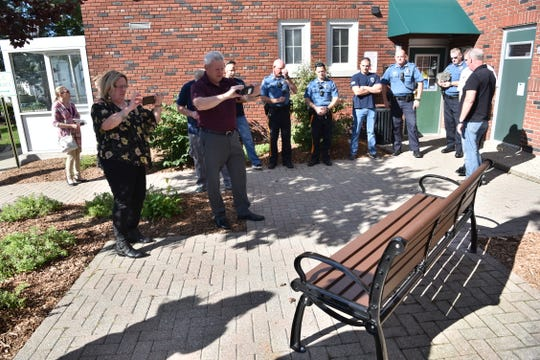 Midland Park dedicated a memorial bench to Officer Chris Birch, who died in an ATV accident at the age of 31 in 2015.