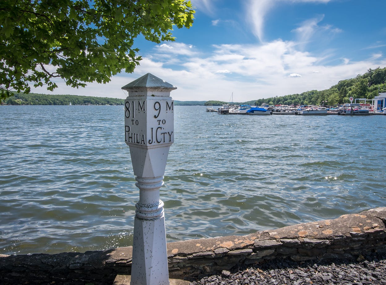 A wayfinding beacon sits on the shore of a Greenwood Lake home in New York State listed for sale at $14.75 million.