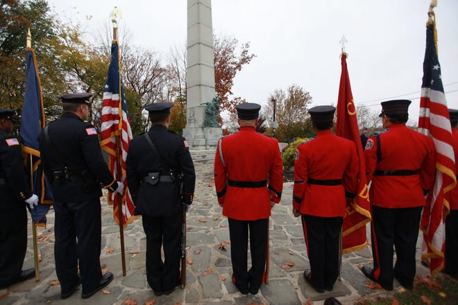 A 2015 Veterans Day service at Hayden Heights in Paterson. A lack of handicap access to the site has prevented many veterans from attending ceremonies there in recent years.