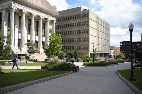 Passaic County converted a road that ran through Paterson's courthouse annex into a pedestrian plaza to promote pedestrian safety.