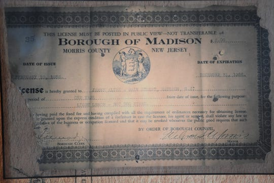 An old business license for a hot dog stand that was found  while doing renovations at what is now Weenies in Madison. Wednesday, September 26, 2018.