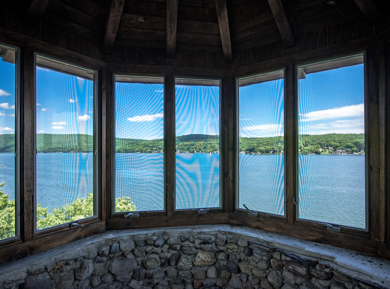 The view from the trademark turret of the castle on the shore of Greenwood Lake in New York State, which has been listed for sale at $14.75 million.