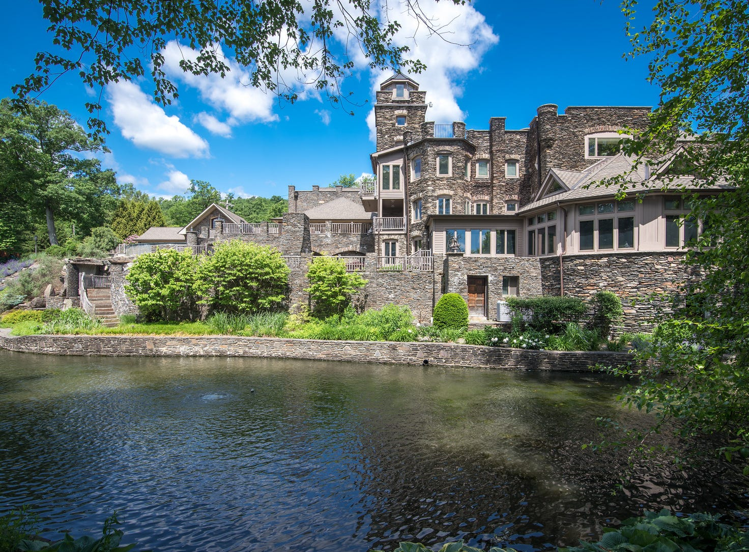A private lagoon is part of the estate on the shore of Greenwood Lake in New York State listed for sale at $14.75 million.