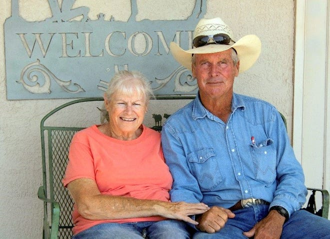 Pennie and Larry Hooper sit out on the porch of their homestead. The Hooper's were recipients of the 2018 Rangeland Stewardship/Sagebrush Steppe Award.