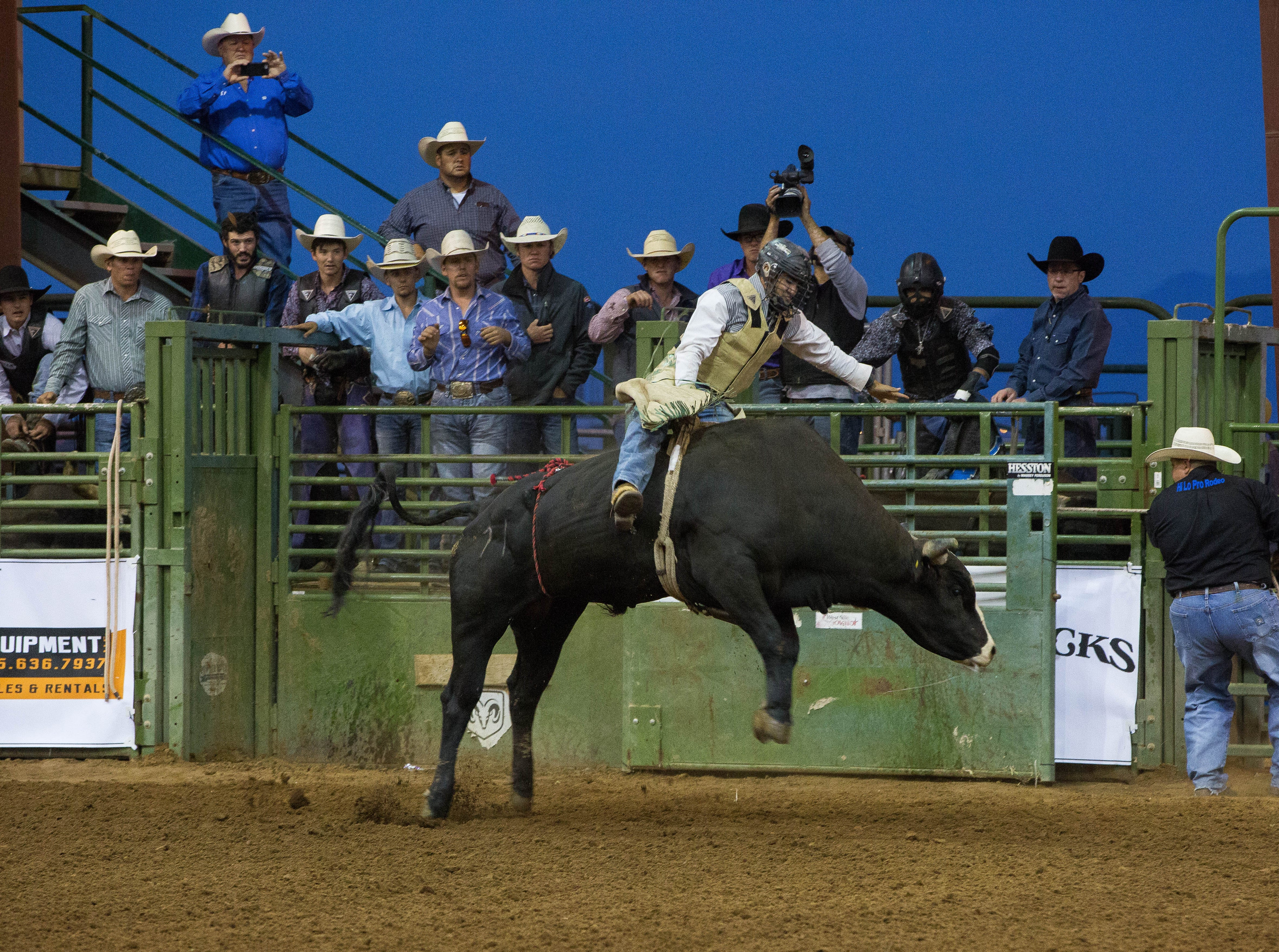 Dawson Stutting, the first rider in the Rumble on the Rio Bull riding contest, riding Spider Pig at the Southern New Mexico State Fair and Rodeo, Wednesday September 26, 2018.