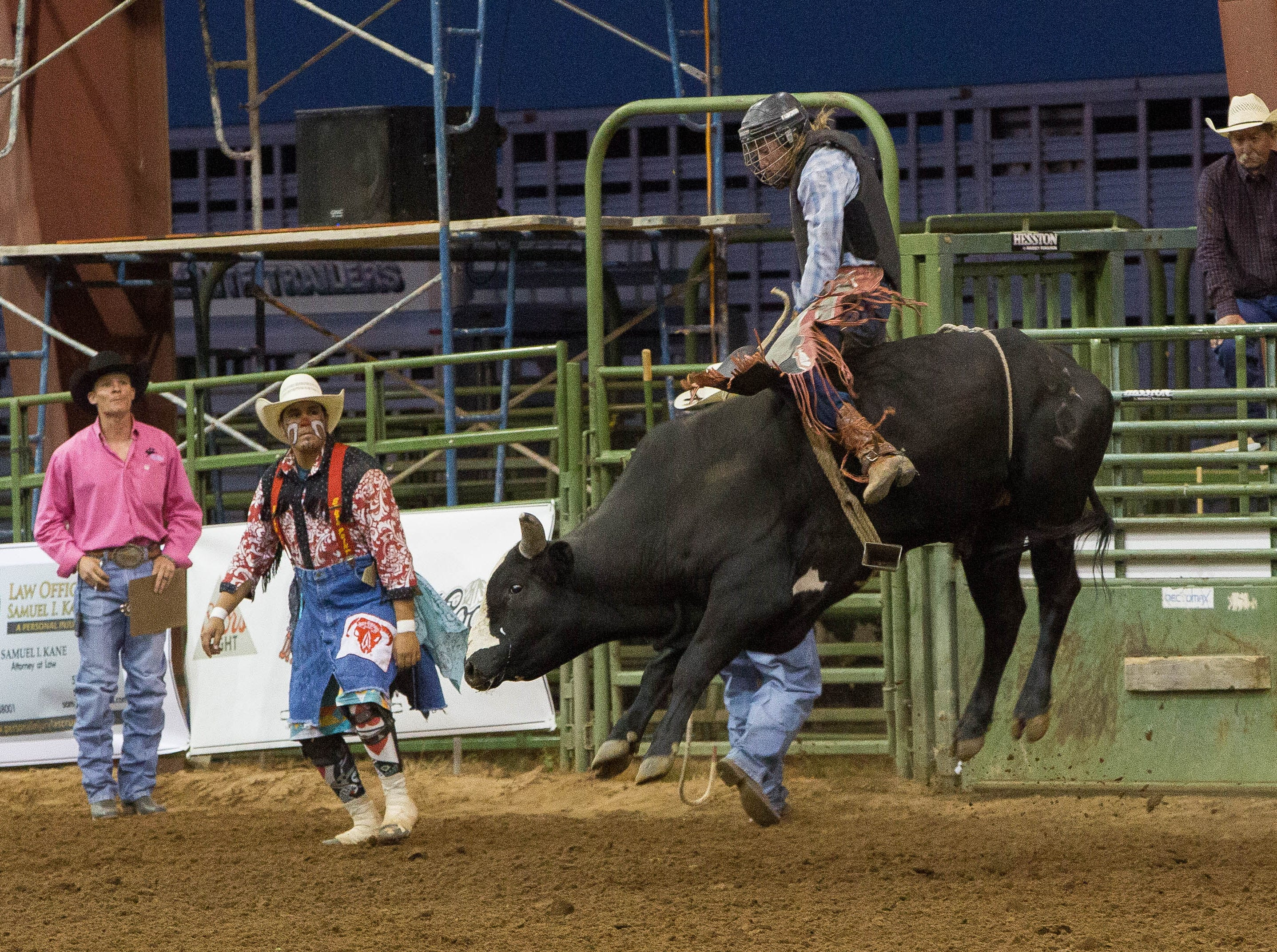 Payson Hendricks, rides Champ during the first round of the Rumble on the Rio bull riding competition, Wednesday Sept. 26, 2018.