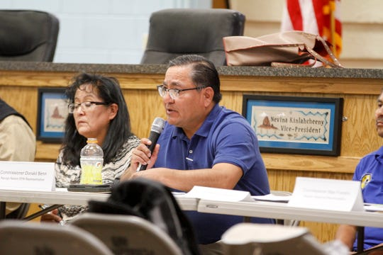 Donald Benn, director of the Navajo Nation Environmental Protection Agency, introduces himself during a Diné Uranium Remediation Advisory Commission meeting Thursday at the Shiprock Chapter house.