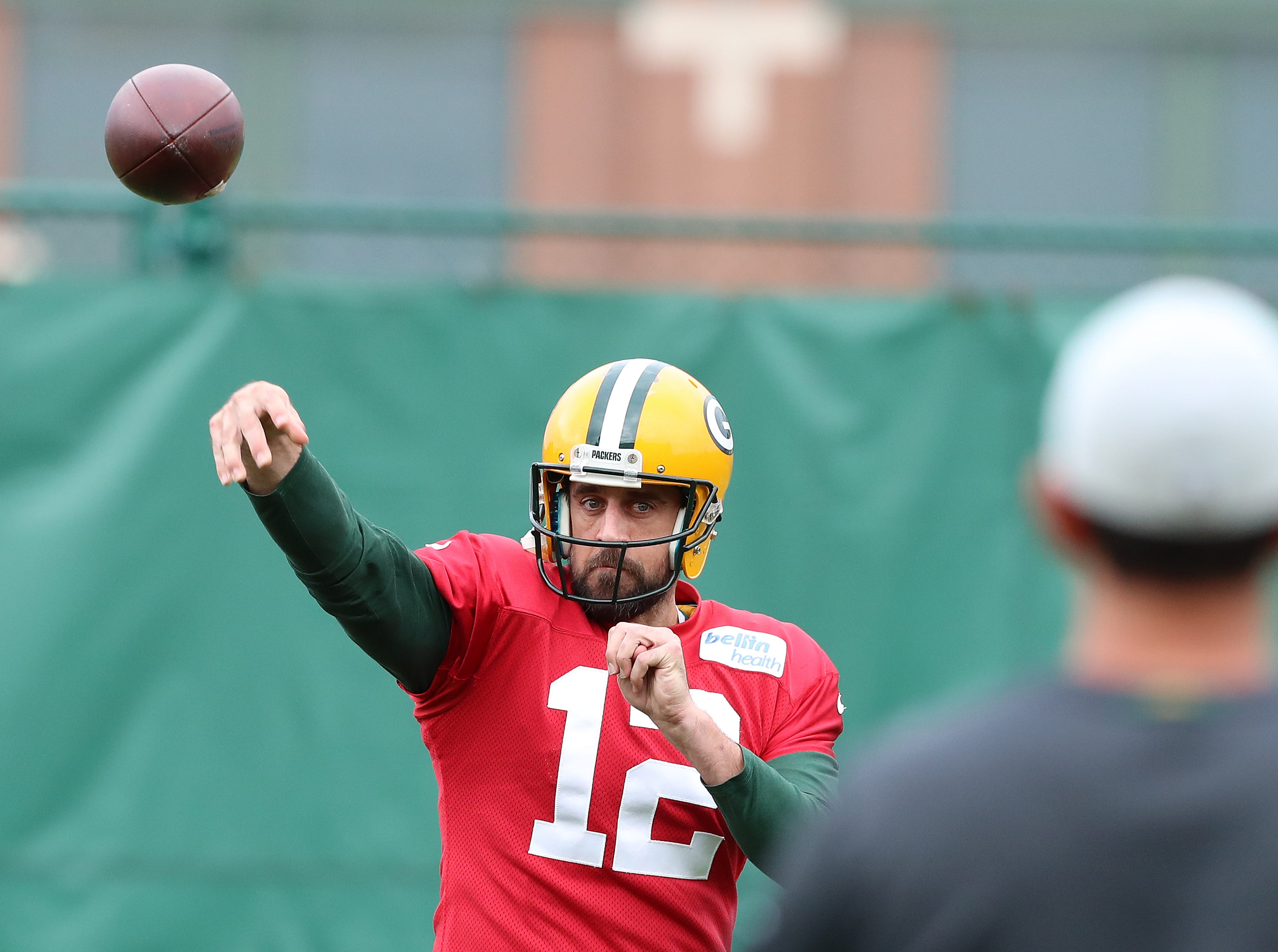 Green Bay Packers quarterback Aaron Rodgers (12) throws during practice on Clarke Hinkle Field Thursday, September 27, 2018 in Ashwaubenon, Wis