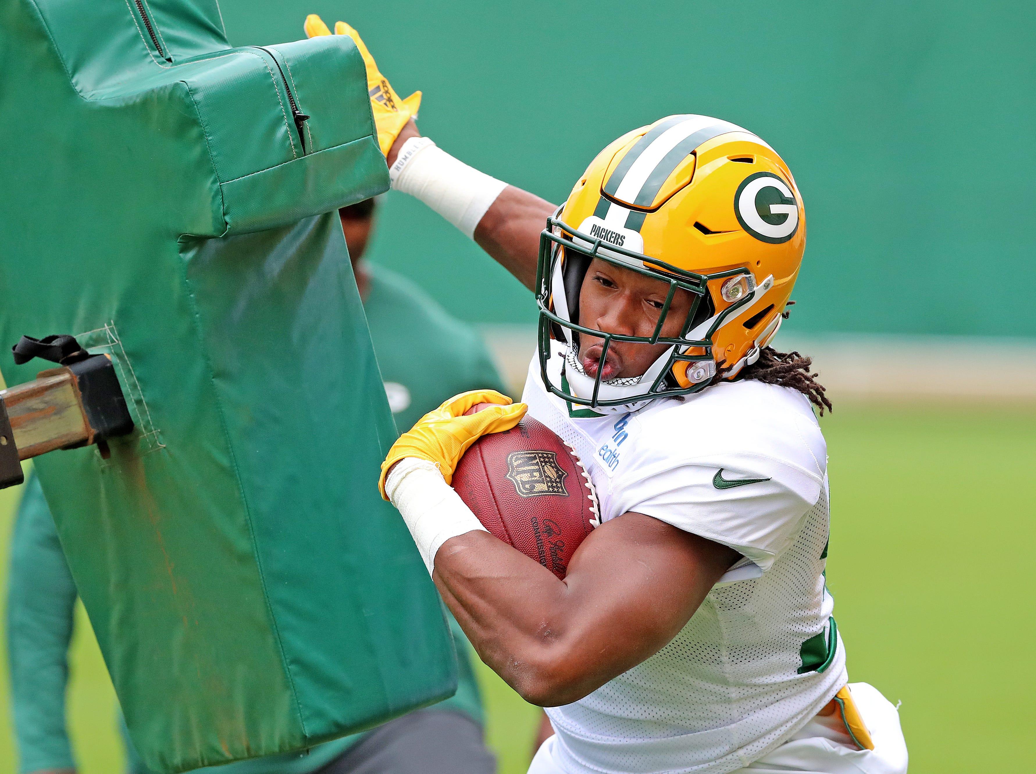 Green Bay Packers running back Aaron Jones (33) during practice on Clarke Hinkle Field Thursday, September 27, 2018 in Ashwaubenon, Wis