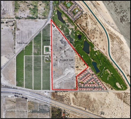 An overhead view of the northeast corner of Vista Del Norte and Tyler Avenue in Coachella. Developer Abraham Gottlieb plans to turn the site into an RV park, townhome complex and hotel.