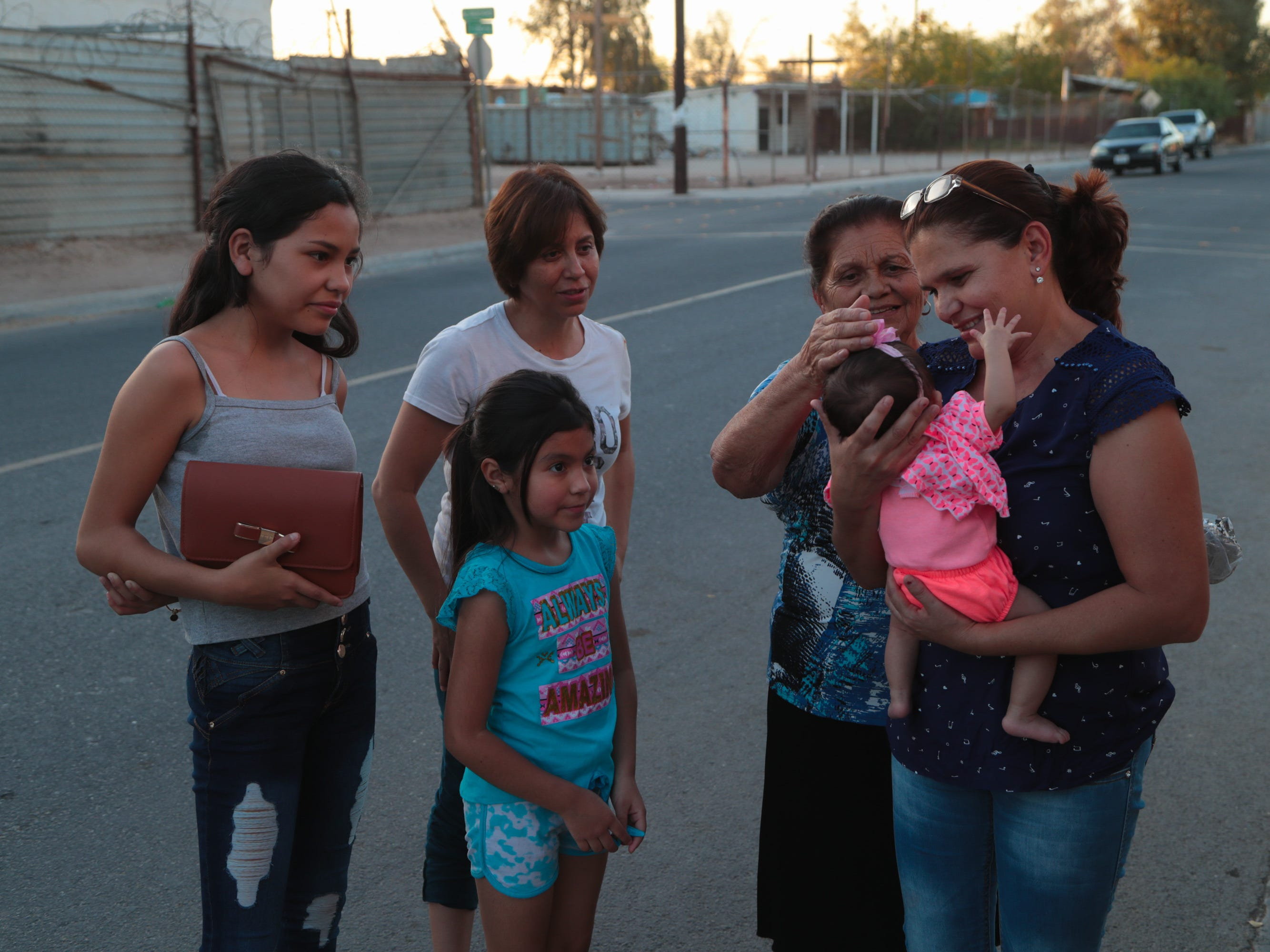 Carmen Arámbula Limón's mother meets her granddaugher, Katrin, for the first time in Mexicali on May 8, 2018.