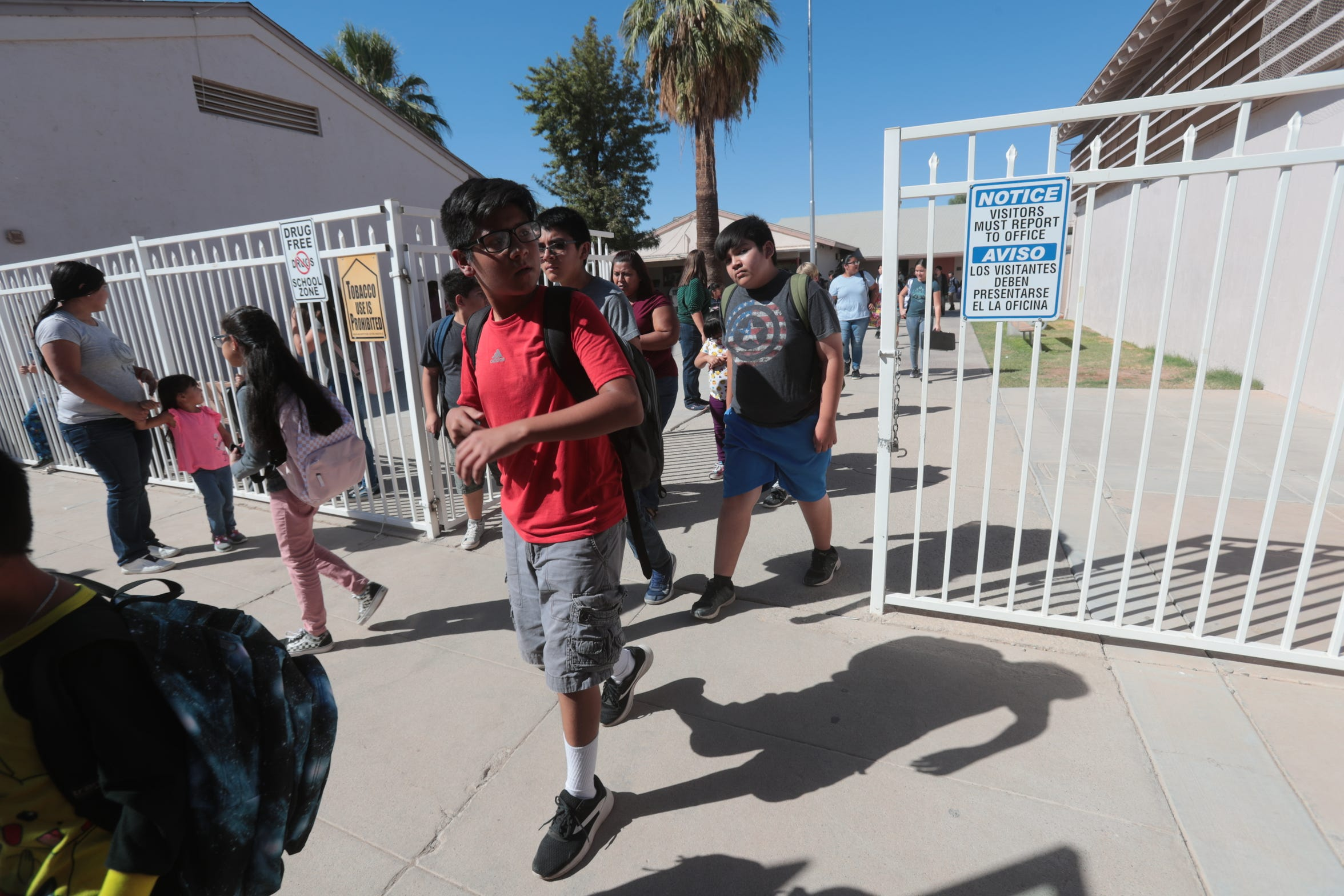 Students leave Seeley Elementary School on Monday, September 25, 2018 in Seeley, CA. The school is a site for a air pollution monitor operated by the nonprofit Comite Civico del Valle.