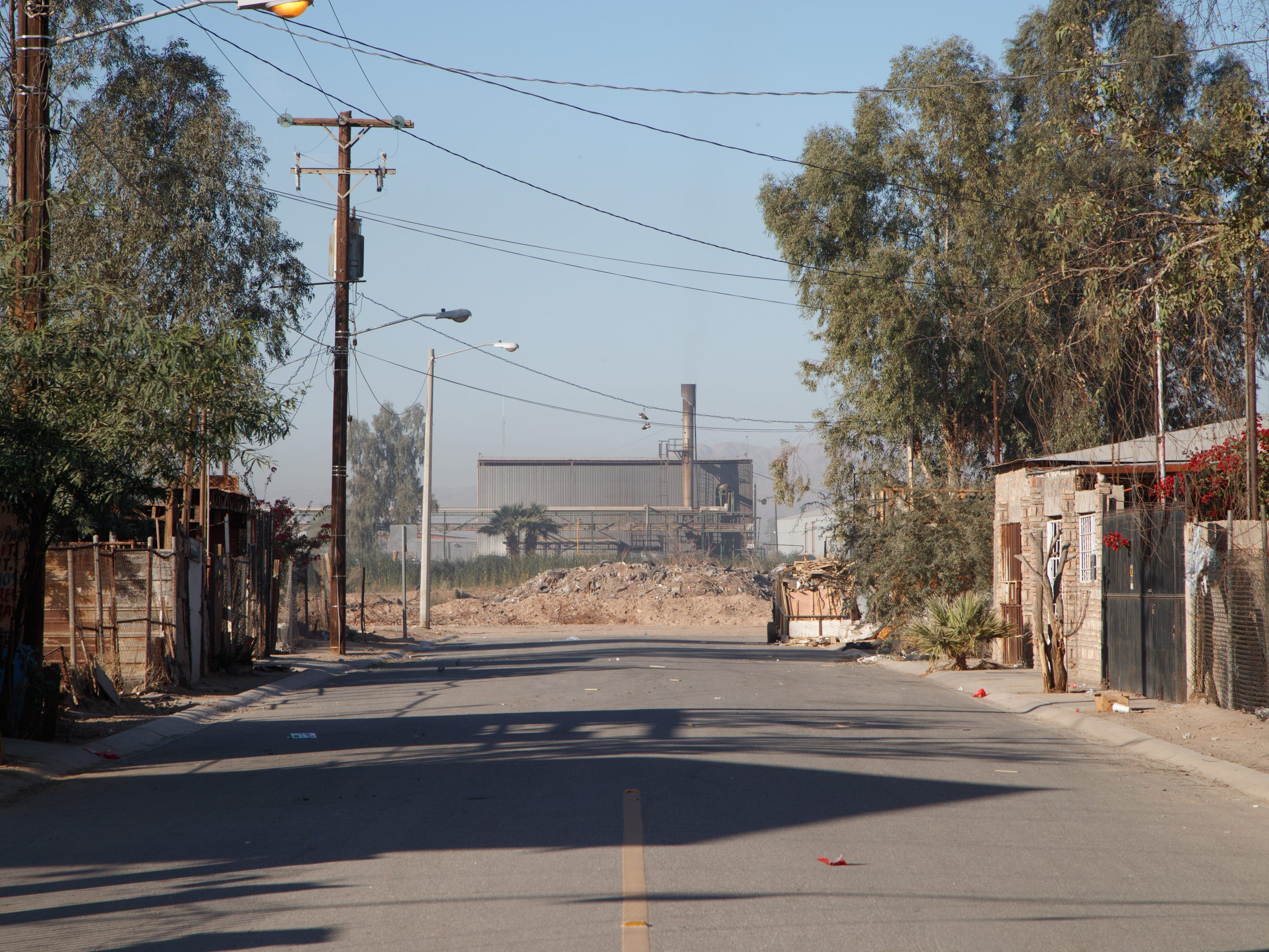 The Industrias Zahori factory stands at the end of a street in the Mexicali neighborhood Colonia Vicente Guerrero.