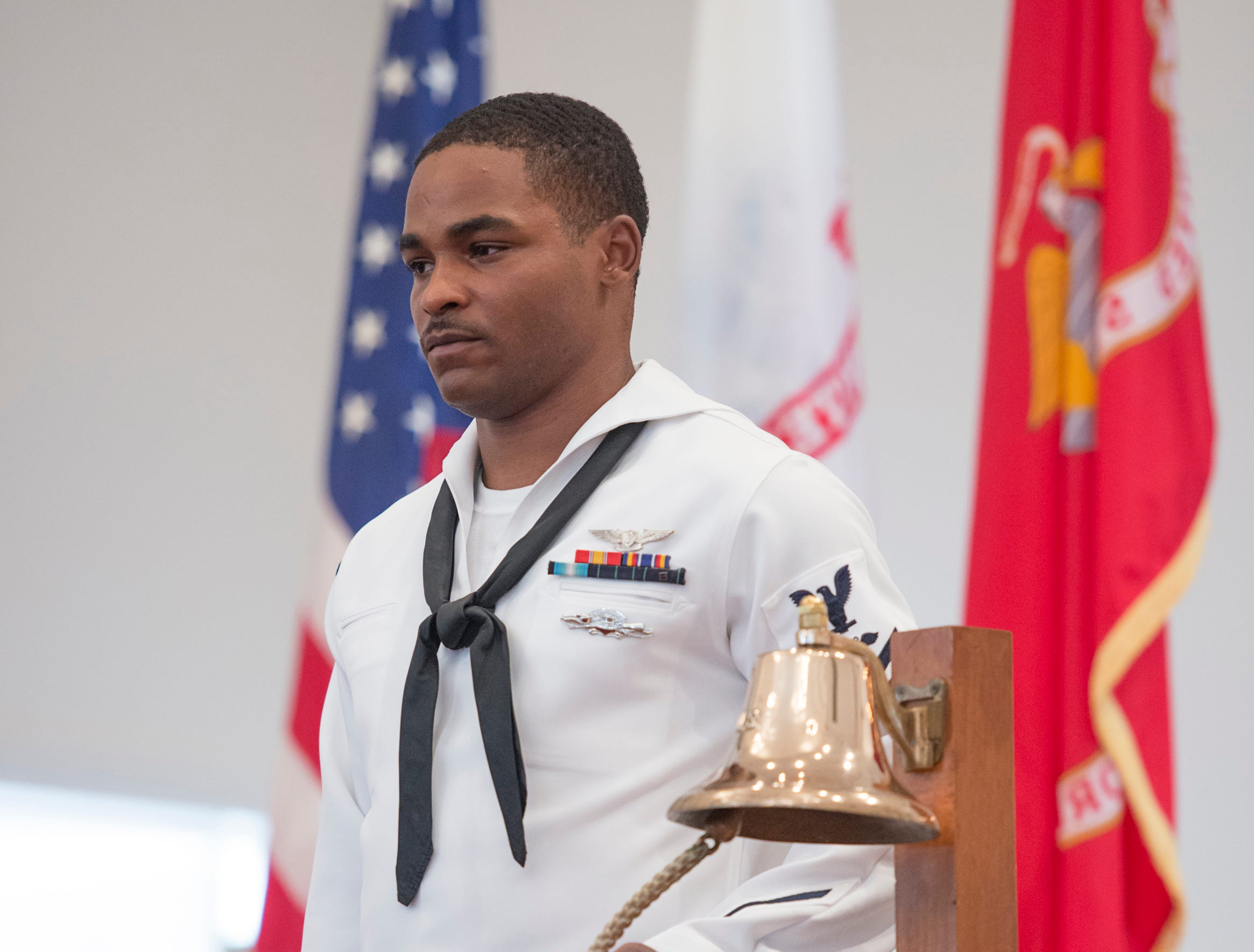 "A bell is rung twice in remembrance of fallen service members during the Gold Star Program's ""Bells Across America"" ceremony at the Naval Air Station in Pensacola on Thursday, September 27, 2018."