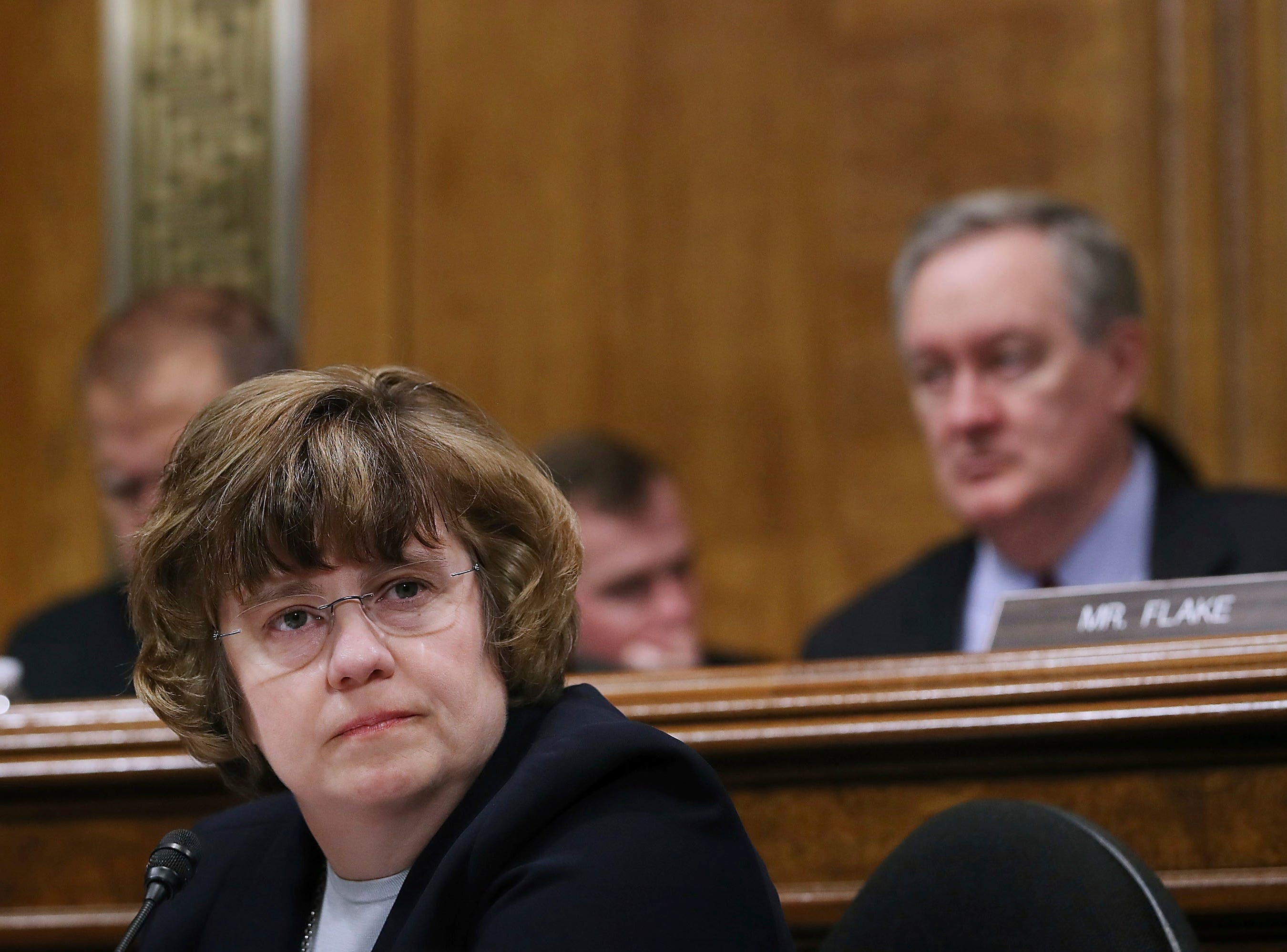 Arizona prosecutor Rachel Mitchell questions Christine Blasey Ford as she testifies before the Senate Judiciary Committee, Sept. 27, 2018 in Washington.