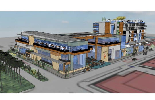 A rendering of a food hall and mixed-use building planned as part of Arizona State University's athletic district in the Tempe Novus Innovation Corridor,