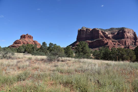 The Rector Connector Trail passes between Bell Rock and Courthouse Butte in Sedona.