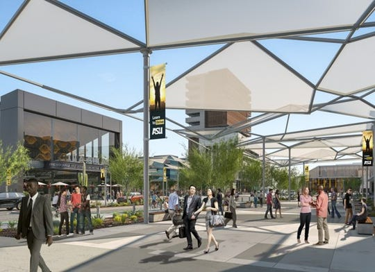 A rendering of buildings planned for Arizona State University's athletic district in the Tempe Novus Innovation Corridor.