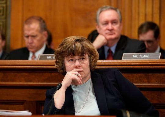 Arizona prosecutor Rachel Mitchell listens to Christine Blasey Ford testify before the Senate Judiciary Committee on Capitol Hill in Washington, Sept. 27, 2018.