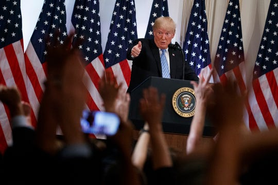 President Donald Trump speaks during a news conference at the Lotte New York Palace hotel on Sept. 26, 2018, in New York.