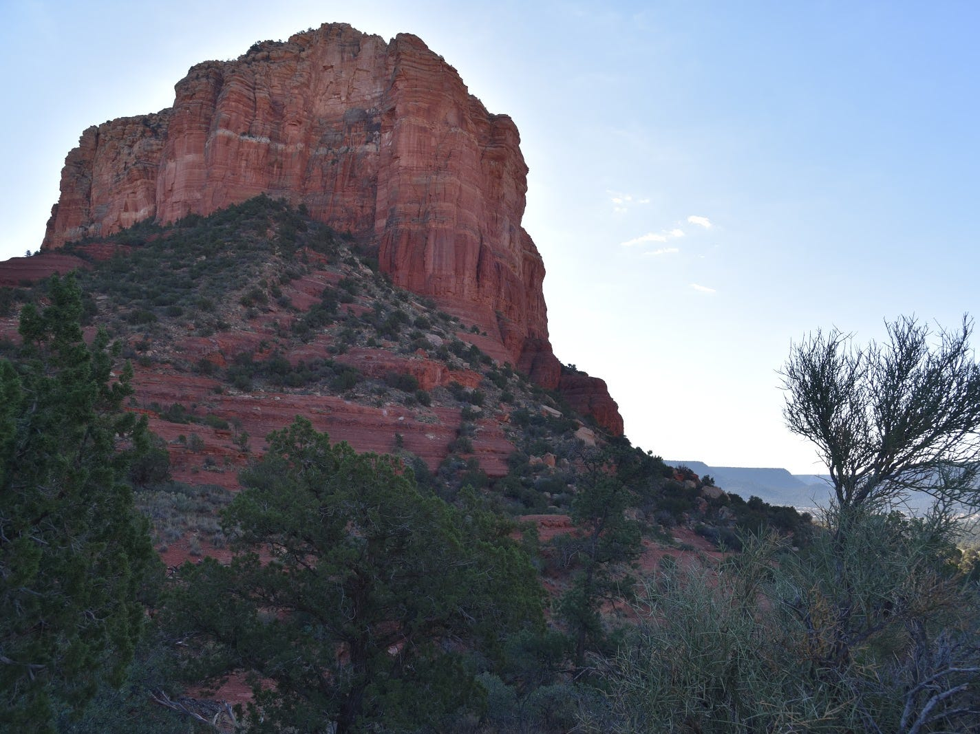 Rector Connector Trail passes below Courthouse Butte in Sedona.