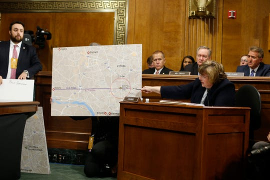 Arizona prosecutor Rachel Mitchell, ask questions to Christine Blasey Ford at the Senate Judiciary Committee hearing, Sept. 27, 2018 on Capitol Hill in Washington.