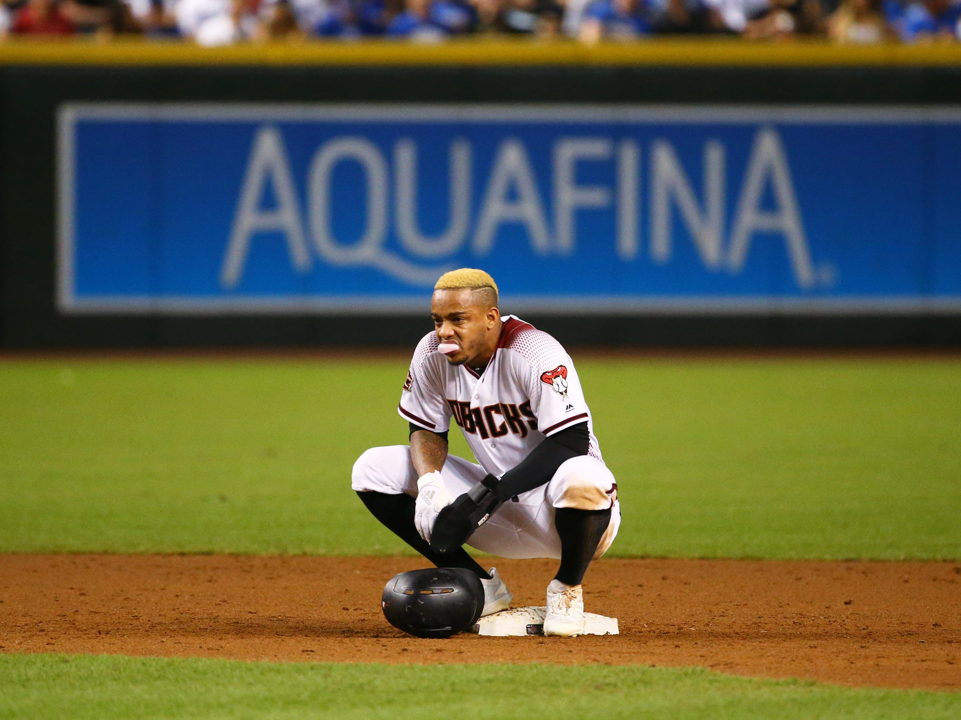 Arizona Diamondbacks 	Ketel Marte reacts during a pitching change by the Los Angeles Dodgers in the second inning on Sep. 26, 2018, at Chase Field in Phoenix, Ariz.