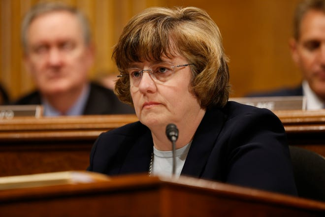 Arizona prosecutor Rachel Mitchell  questions Christine Blasey Ford as she testifies before the Senate Judiciary Committee on Capitol Hill in Washington, Sept. 27, 2018.
