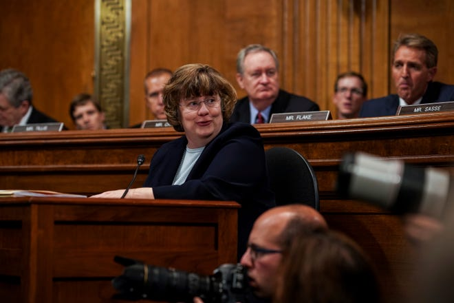 Rachel Mitchell questions Dr. Christine Blasey Ford. The Senate Judiciary Committee holds a hearing for Dr. Christine Blasey Ford to testify about sexual assault allegations against Supreme Court nominee Judge Brett M. Kavanaugh at the Dirksen Senate Office Building on Capitol Hill, Sept. 27, 2018.