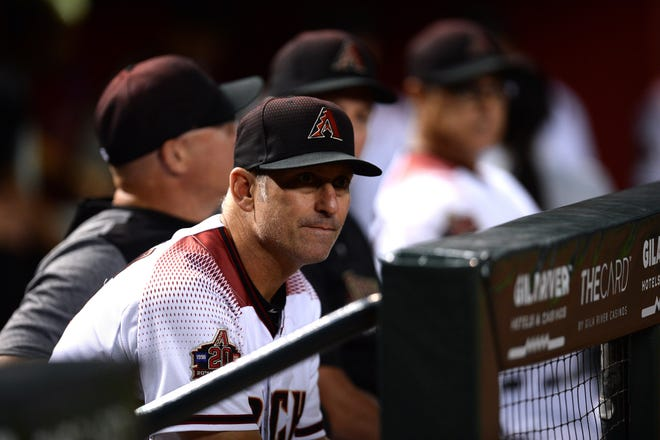 Sep 26, 2018; Phoenix, AZ, USA; Arizona Diamondbacks manager Torey Lovullo (17) looks on prior to a game against the Los Angeles Dodgers at Chase Field.