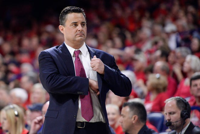 Arizona Wildcats head coach Sean Miller stands on the sideline during the second half against the California Golden Bears at McKale Center.
