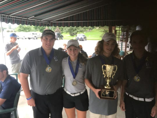 Cedar Crest's, from left, Brock Smith, Emma Dissinger, Enzo Emerich and Nolan Hoover celebrate their Lebanon County team title.