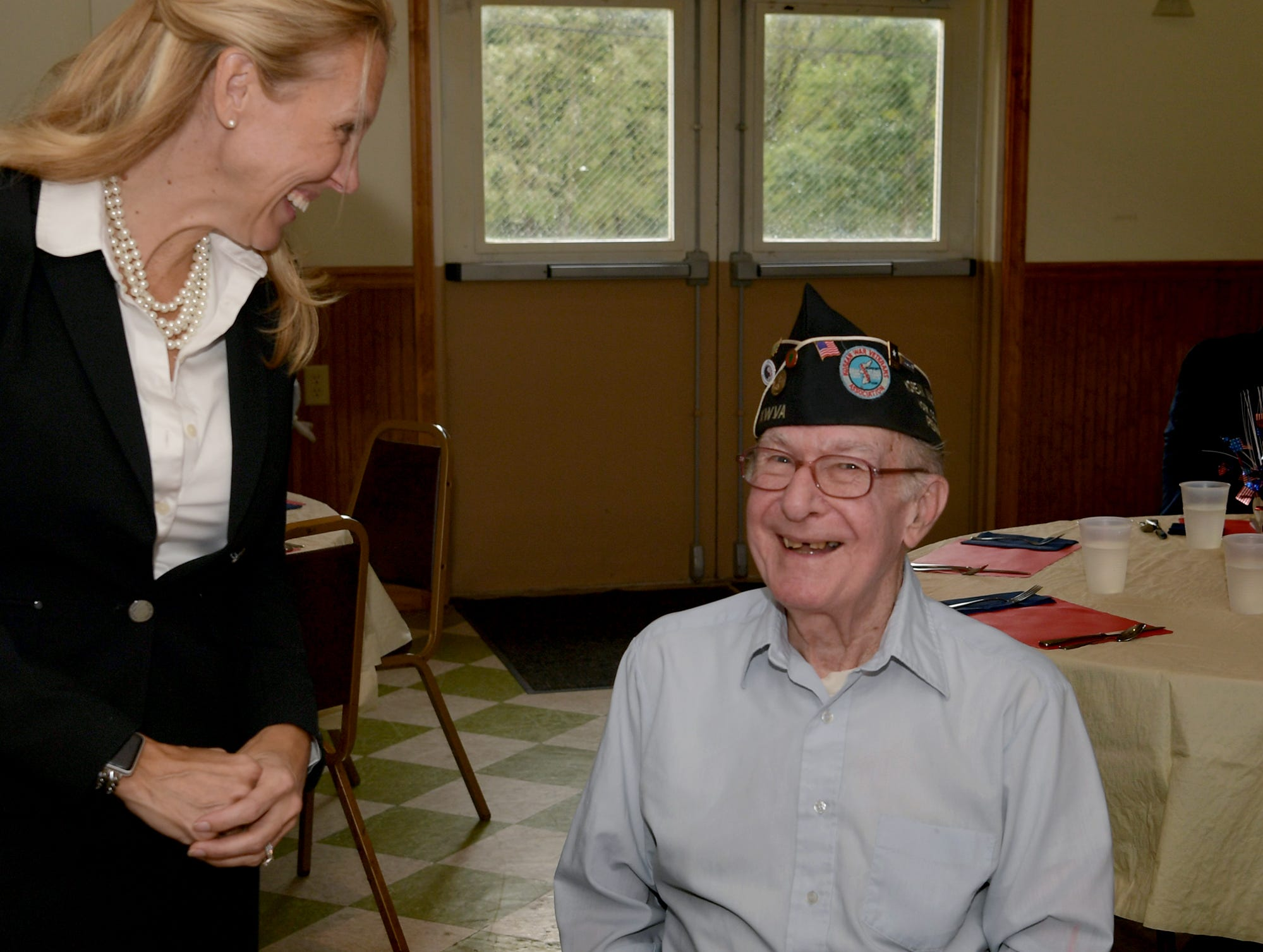 Korean War veteran Victor Aldinger of Newberry Township talks with PA State Representative Dawn Keefer during a ceremony at the James A. Danner VFW Post #537 in Newberry Township Thursday, Sept. 27, 2018. Aldinger and five other Korean War veterans received Ambassador for Peace Medals, issued by the Korean government, during the event. Keefer sponsored the event in conjunction with U.S. Senator Pat Toomey's office, which assisted in procuring the medals. Bill Kalina photo