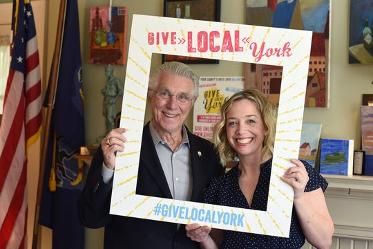 Meagan Given, right, executive director of Give Local York, represented the non-profit organization at the 2018 Spirit of YoCo Awards on Wednesday, Sept. 25. Philanthropist Robert W. Pullo, helped to found the organization.
