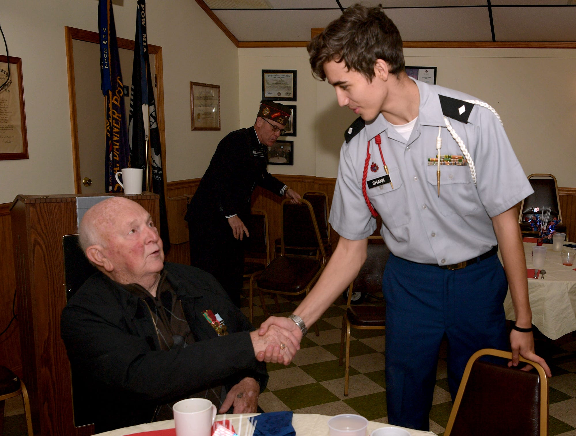 The Red Land High School JROTC presented the colors and met with area veterans during a ceremony in which Korean War veterans received Ambassador for Peace Medals issued by the Korean government at the James A. Danner VFW Post #537 in Newberry Township Thursday, Sept. 27, 2018. The event was sponsored by PA State Representative Dawn Keefer in conjunction with U.S. Senator Pat Toomey's office, which assisted in procuring the medals. Bill Kalina photo
