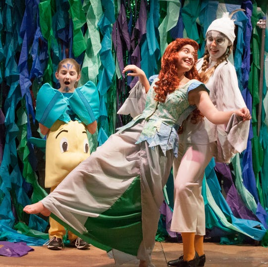 "Bernadette McLain, Syvia Weiskopf and Mya Gurreri rehearse a scene in DreamWright's upcoming ""The Little Mermaid,"" running Oct. 12-28."