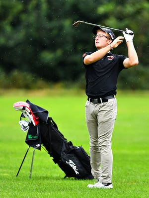 Central York's Carson Bacha, shown here during the York-Adams League Individual Golf Championship in September, finished 12th in the PIAA Class 3-A tournament. Dawn J. Sagert photo