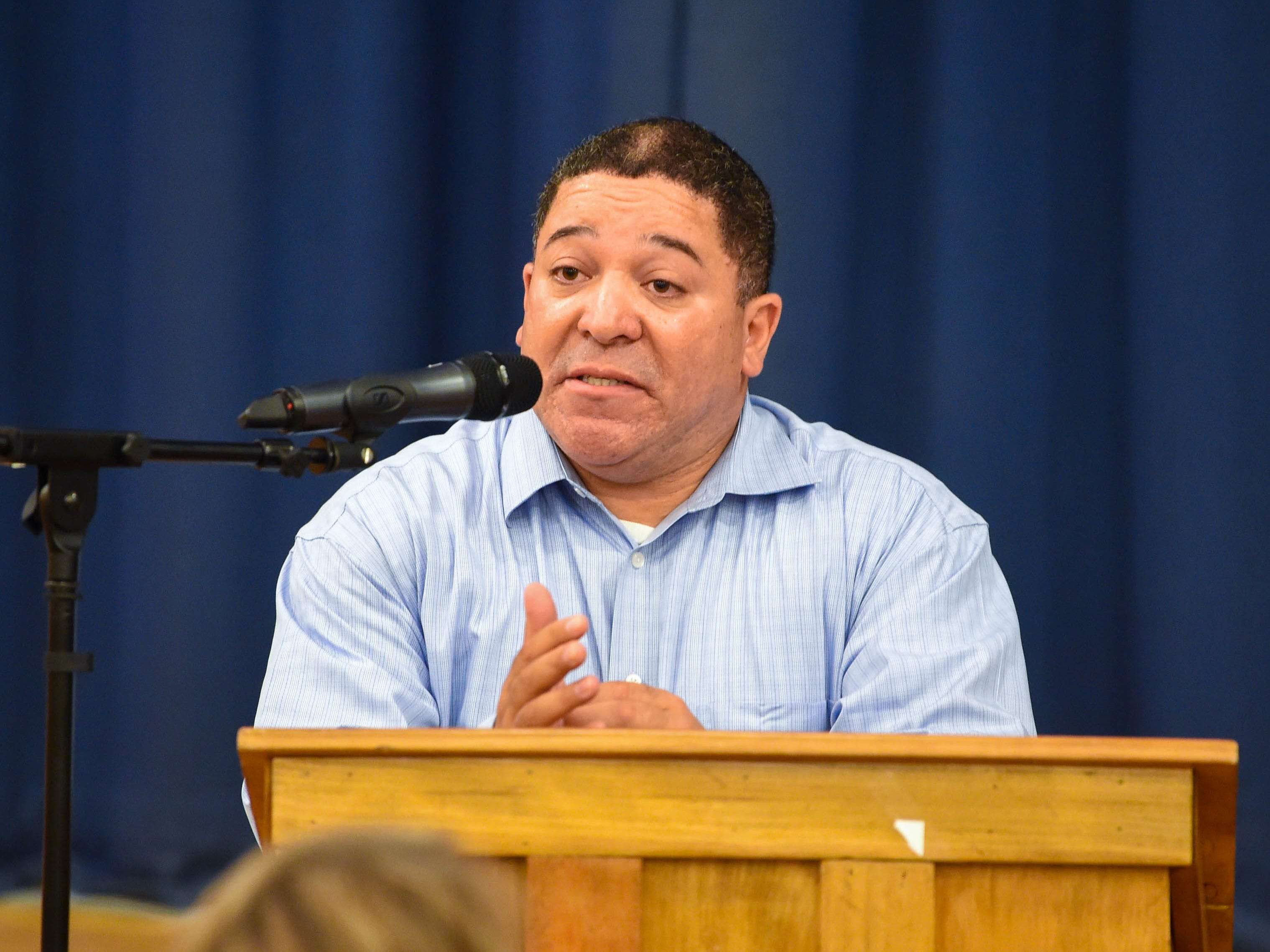 """Louis Rivera of Latinos Unidos York speaks about Latino and minority struggles in York during the """"No Hate in Our State"""" Social Justice Town Hall meeting, Wednesday, September 26, 2018."""