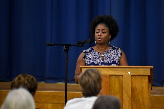 """Sandra Thompson, President of the NAACP York Chapter gives the audience a call to action during the """"No Hate in Our State"""" Social Justice Town Hall meeting at the Crispus Attucks Community Center, Wednesday, September 26, 2018."""