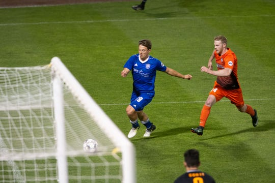 Reno 1868 FC battles 'Rio Grande Valley FC on Wednesday at Greater Nevada Field in downtown Reno,