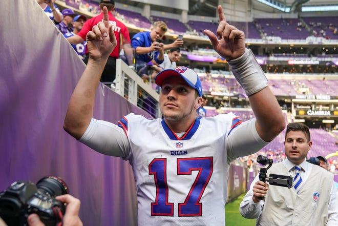 Buffalo Bills quarterback Josh Allen celebrates after Sunday's win over the Minnesota Vikings.