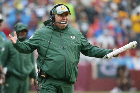 Green Bay Packers head coach Mike McCarthy gestures from the sidelines against the Washington Redskins.