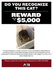 PETA poster advertising reward.