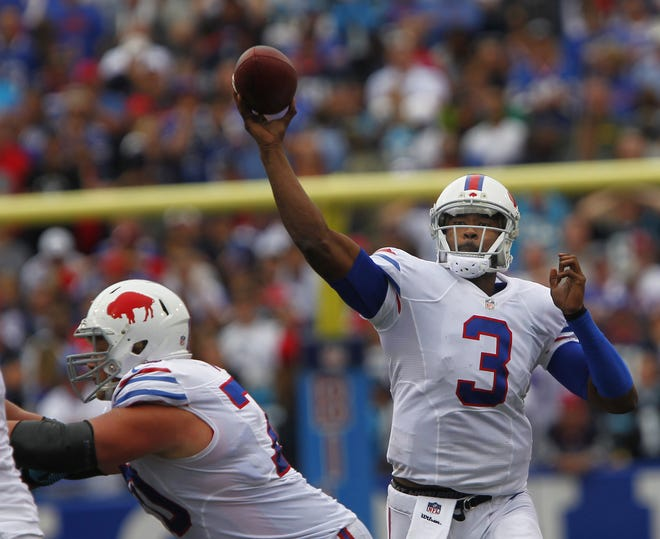 Buffalo's EJ Manuel throws down field during the Bills 2013 upset over the Panthers.